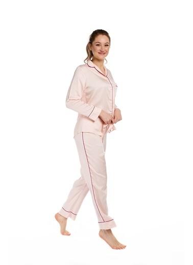 Pamuk & Pamuk Kadın Pudra Biyeli Gömlek Pijama Takım Renkli